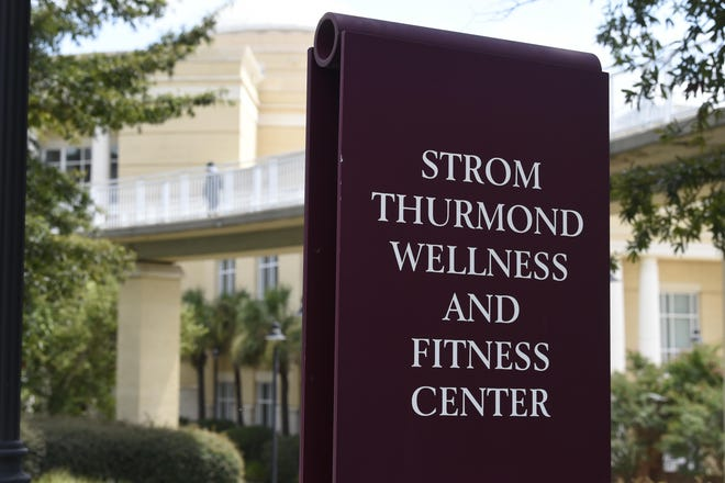 A sign advertises the Strom Thurmond Wellness and Fitness Center in Columbia, S.C.