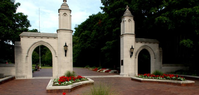 The Sample Gates create a formal entrance to the Indiana University campus. David Snodgress | Herald-Times
