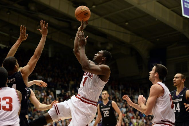 Indiana forward Noah Vonleh (1) shoots during the Indiana Northwestern men's basketball game at Welsh-Ryan Arena in Evanston, Ill. Saturday, Feb. 22, 2014.Chris Howell   Herald-Times