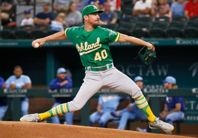 Oakland's Chris Bassitt throws a pitch Sunday against Texas. He volunteered to pitch in the All-Star Game two days later.