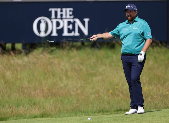 Shane Lowry of Ireland practices his putting on the second green at Royal St. George's on Tuesday, two days before beginning his title defense in the Open Championship.