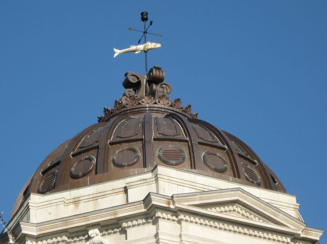 Monroe County Courthouse and fish weathervane.