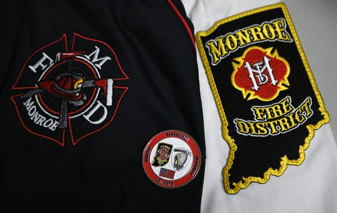 Emblems of the Monroe Fire Protection District are seen on departmental items. (Chris Howell / Herald-Times)