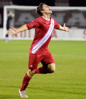 Indiana midfielder Joe Schmidt celebrates after scoring a goal during the game against Rutgers at Bill Armstrong Stadium Friday, Oct. 25, 2019.