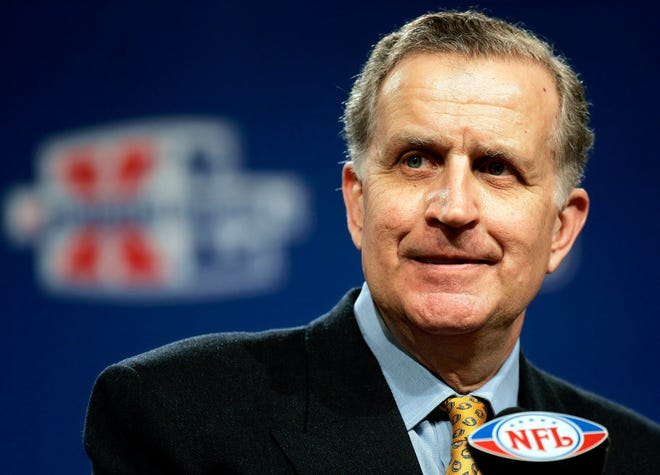 NFL Commissioner Paul Tagliabue delivers his State of the NFL remarks ahead of Super Bowl XL in Detroit, in this Friday, Feb. 3, 2006. Tagliabue will be enshrined as part of the 2020 class voted into the Pro Football Hall of Fame. (AP Photo/Michael Conroy, File)