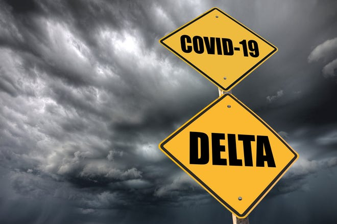 """Street signs with """"COVID-19"""" and """"Delta"""" printed on them and dark clouds in the background."""