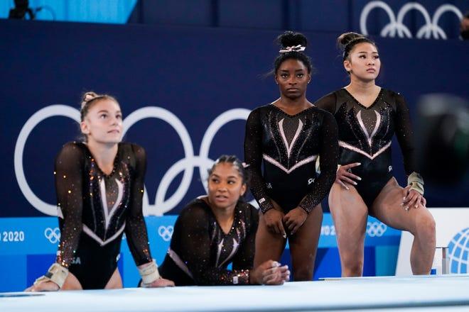 The U.S. women's gymnastics team (from left) Grace McCallum, Jordan Chiles, Simone Biles, and Sunisa Lee at the Tokyo Olympics.