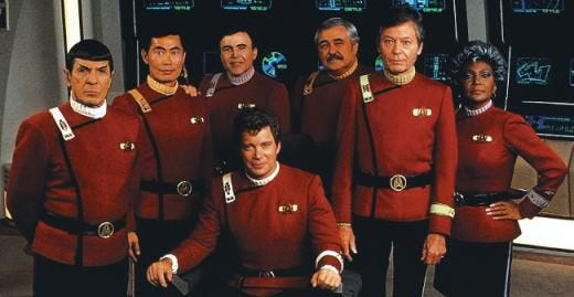 """The main cast of the 1960s """"Star Trek"""" TV series signed on for """"Star Trek II: The Wrath of Khan"""" (1982) and found themselves wearing snazzy new uniforms. The original TV series debuted Sept. 8, 1966 and ran for three seasons on NBC."""