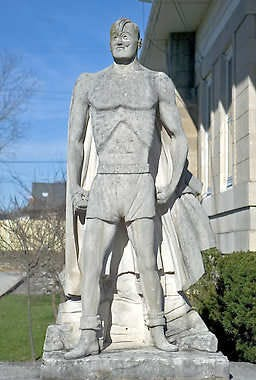 This statue of Joe Palooka stands in front of Oolitic Town Hall.