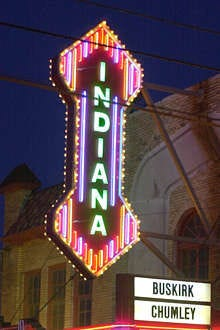 The landmark Indiana sign marks the Buskirk-Chumley Theater in Bloomington.