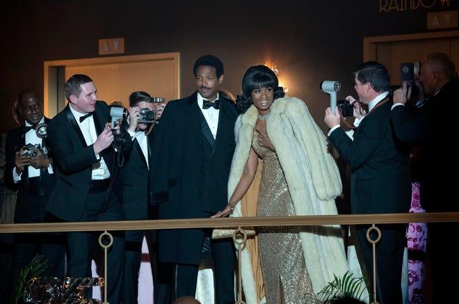 "Marlon Wayans, center left, and Jennifer Hudson in a scene from ""Respect."""