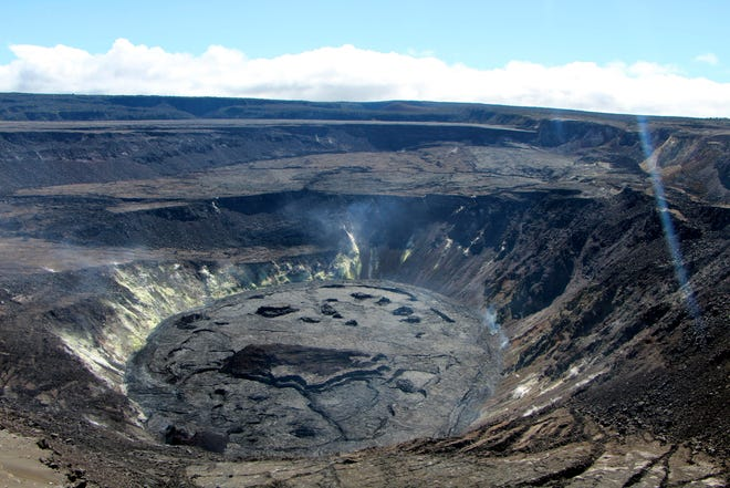The crater of the Kilauea volcano south of Honolulu on Aug. 13.