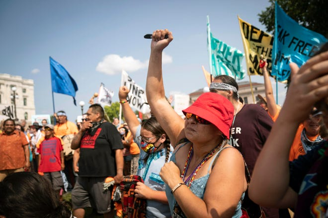 Niimi Makoons, founder of Protect the Sacred, dances to drumming at a protest against Line 3 and other pipeline projects at the State Capitol in St. Paul, Minn., on Aug. 25.