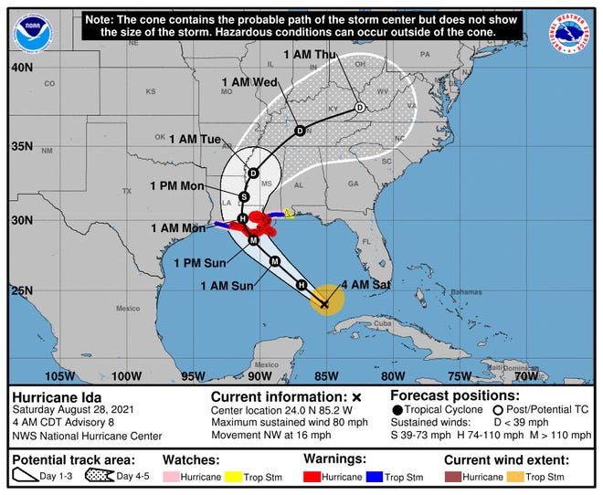 The National Weather Service says Hurricane Ida will soon become more powerful.