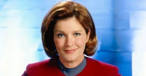"""Kate Mulgrew portrayed Capt. Kathryn Janeway in the TV series """"Star Trek: Voyager."""" A monument featuring a bust of her character will be unveiled Saturday on the B-Line Trail near WonderLab, and can be viewed streaming. WonderLab will host an event in the evening and Irish Lion will have a special Star Trek-themed menu. For more information, visit janewaycollective.org. (Paramount Pictures / Courtesy photo)"""