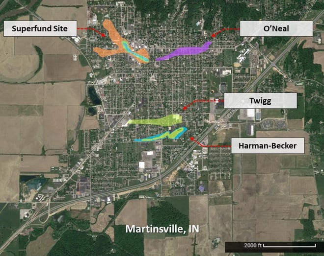 All four contamination plumes in the city of Martinsville are shown on this map. (Purdue University courtesy image)