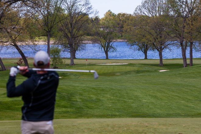 Khris Merrill hits a tee shot during the U.S. Open Local Qualifier event Tuesday, May 11, 2021 at the South Bend Country Club.
