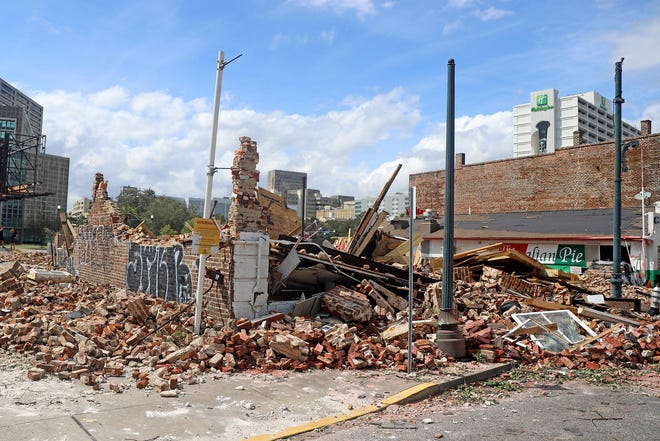 The historic Karnofsky Store on South Rampart Street in New Orleans, a second home to jazz musician Louis Armstrong, was destroyed by Hurricane Ida.
