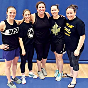Bad Moms won the women's division in the Watertown Park and Rec 3-on-3 Spring Shootout Basketball Tournament at the Prairie Lakes Wellness Center. Team members include, from left, Katie Dale, Stephanie Muller, Nick Mack, Angie Bevers and Lisa Kreutner.
