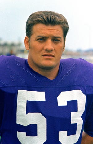 Minnesota Vikings center Mick Tingelhoff (53) poses for a photo in 1970. Tingelhoff, the ultimate ironman who started 240 consecutive games at a bruising position for the Minnesota Vikings and played in four Super Bowls, died Saturday, Sept. 11, 2021. He was 81. (AP Photo/File)