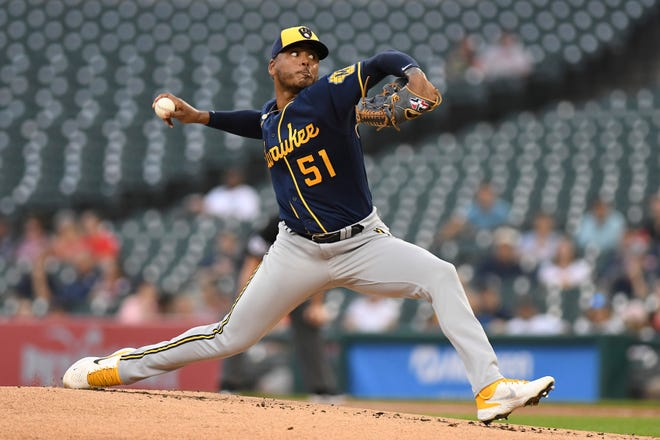 Milwaukee Brewers pitcher Freddy Peralta pitches against the Detroit Tigers on Tuesday.