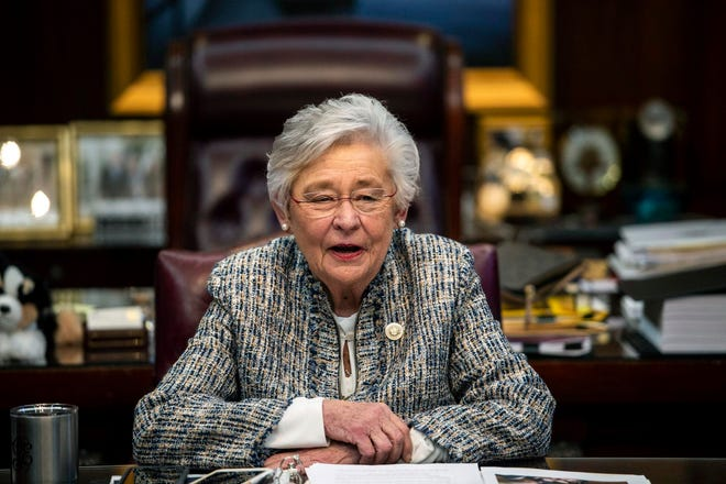 Alabama Gov. Kay Ivey holds a sit-down interview with reporters in her office at the Alabama State Capitol Building in Montgomery.