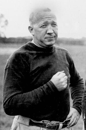 This is a 1925 file photo showing Notre Dame football coach Knute Rockne. Date and location are unknown.
