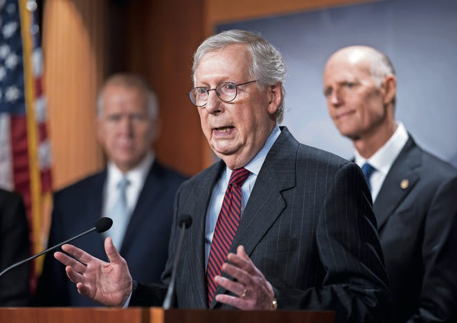Senate Minority Leader Mitch McConnell, R-Ky., on Wednesday continued to insist that Republicans will block the House-passed measure to keep the American government running.