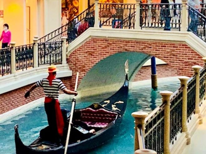 """Find gondolier glory at The Venetian """"Vatican City"""" in """"Sin City"""" Venice's St Mark Square at The Venetian."""