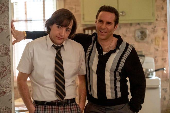 "Michael Gandolfini, left, and Alessandro Nivola in a scene from ""The Many Saints of Newark."""