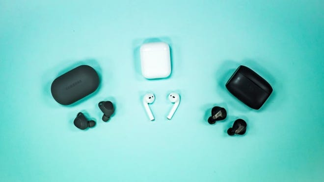 True wireless earbuds all come with two individual buds--no wires between them--and a charging case.