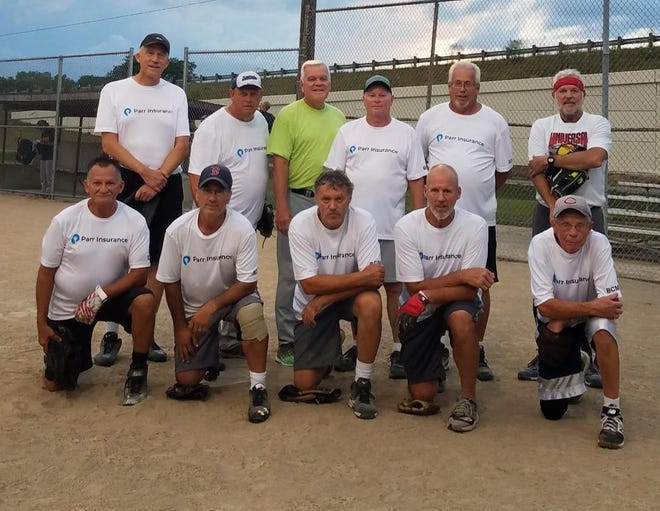 Parr Insurance won the 60-and-Over tournament championship of the Marion Senior Softball Association. Members of the team are, front from left, Jerry Fagan, Steve Cote, Tracy Bollinger, Tony Ray and Larry Rogers; standing from left, Bill Finnegan, Ed Slone (manager), Chuck Baker, Gene Smithberger, Ray Thacker and Bill Frederick. Missing members were Jeff Carver and Bob Lundquest.