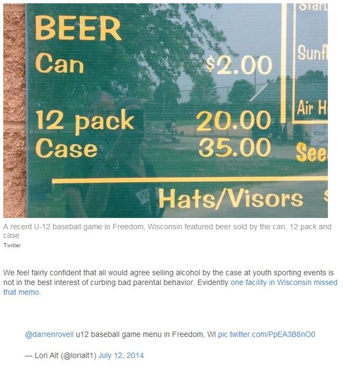 Beers sales at Freedom youth tournament trigger criticism