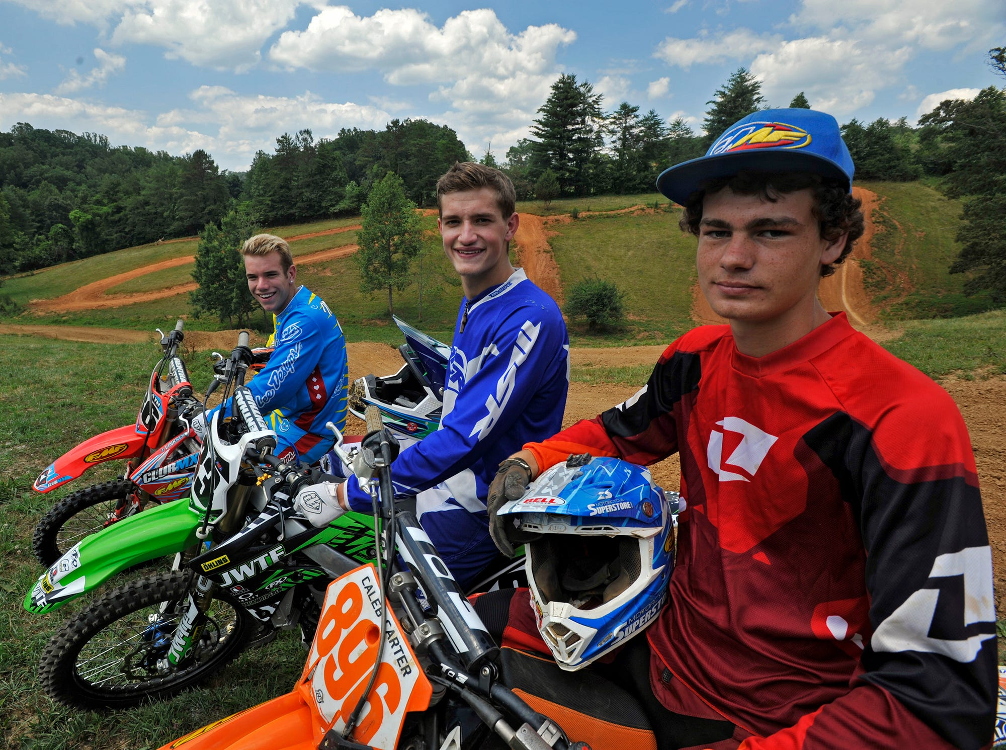 Local teenagers, from left, Kyle McElrath, Keaton Hinson and Caleb Carter will race in the Rocky Mountain ATV/MC Amateur National Motocross Championship held July 27-Aug. 2 in Hurricane Mills, Tenn.