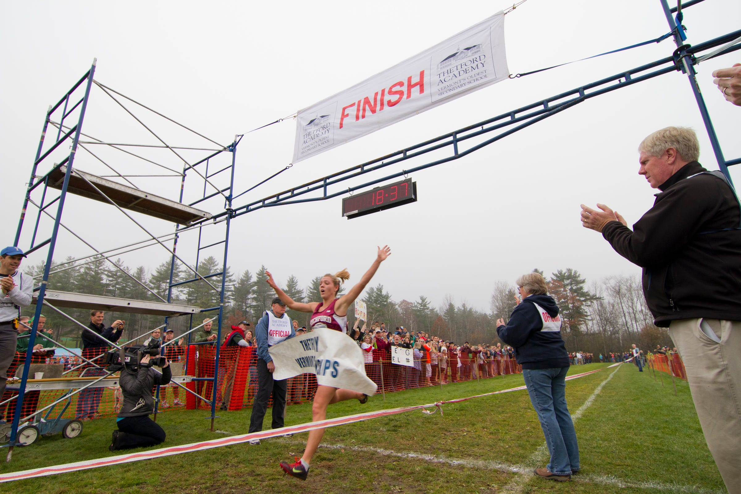 In this file photo, Elle Purrier wins the Vermont high school cross-country championships.