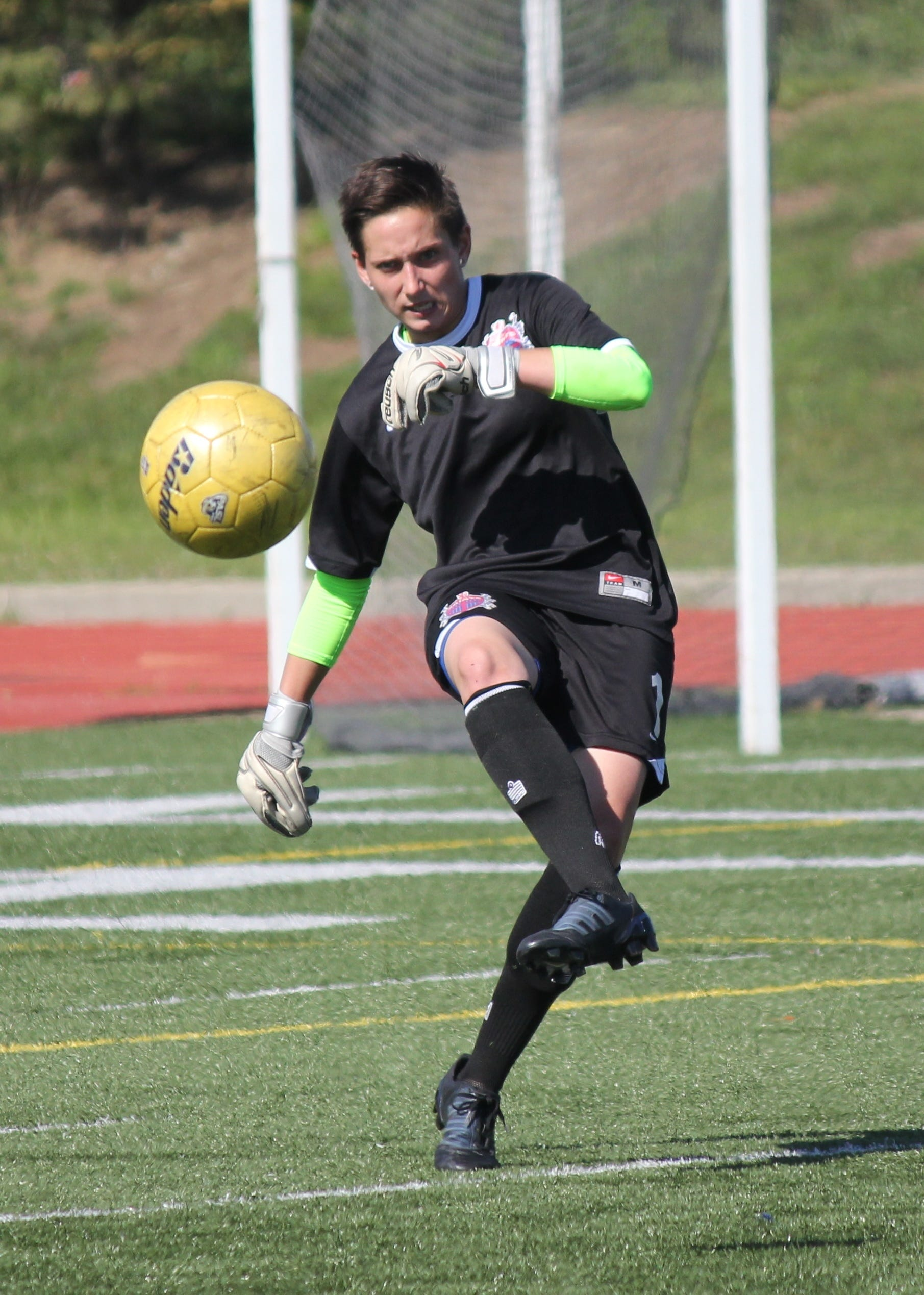 Lady Saints starting keeper Sam Rolsen (Turpin graduate/Shawnee State) puts the ball in play in the July 5 game against FC Pride July 5 at Stargel Stadium.
