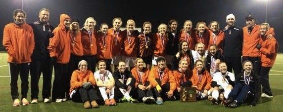 Loveland's girls soccer team celebrates their Division I district championship over Springboro Oct. 24.