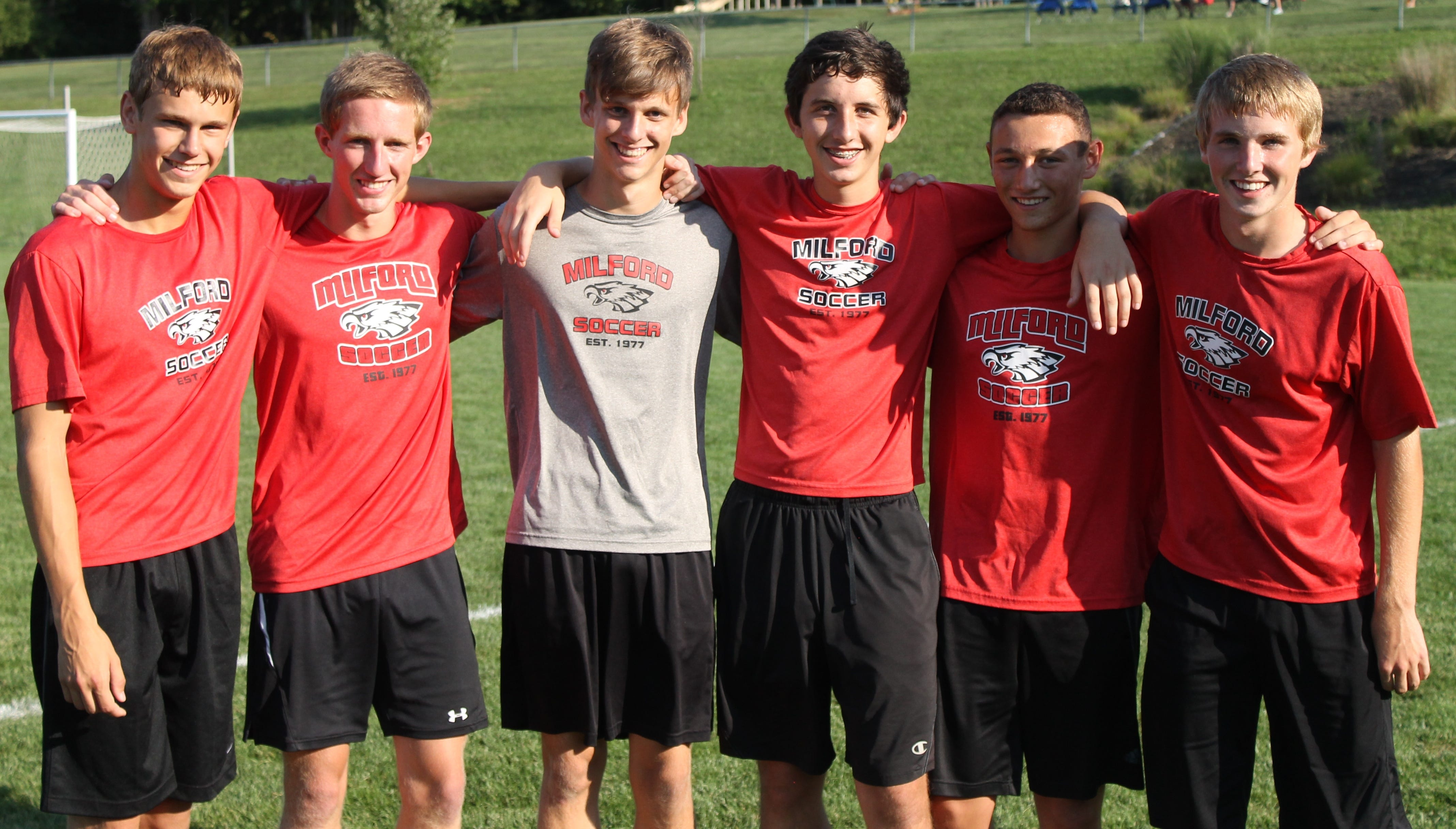 The 2014 Milford High School boys soccer team includes six seniors. From left, they are Owen Lung, captain Jack Burgess, Wyatt Gearhart, Zach Remm, Tanner Sherwood and Xander Johnson.