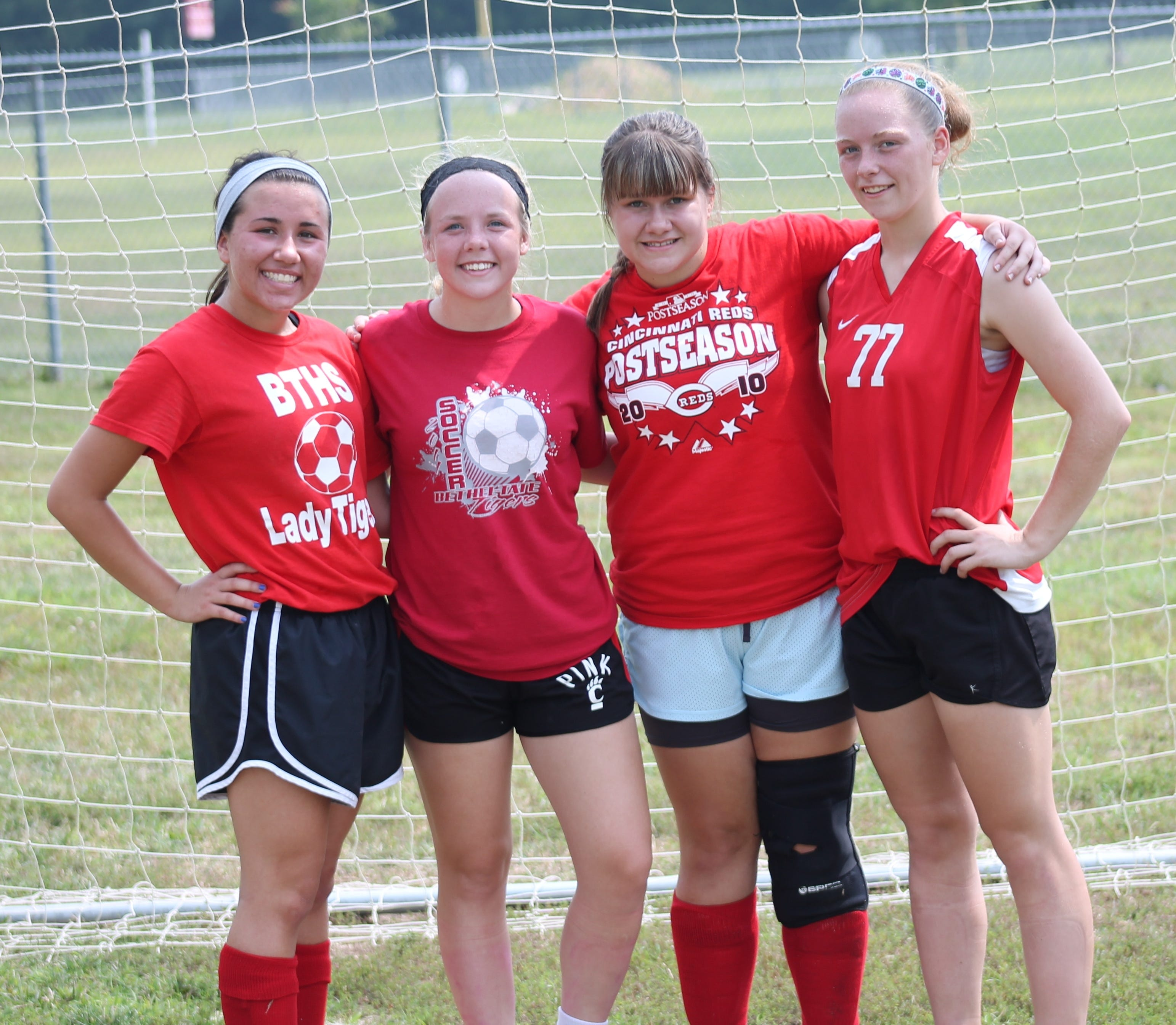 Bethel-Tate's girls soccer seniors are, from left, Casey Collins, Michelle Cornelius, Morgan Walters and Kaitlynn Perkins.