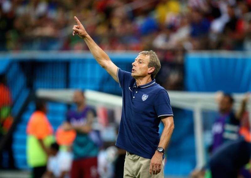 United States coach Jurgen Klinsmann reacts during the team's game against Portugal on Sunday in Manaus, Brazil.