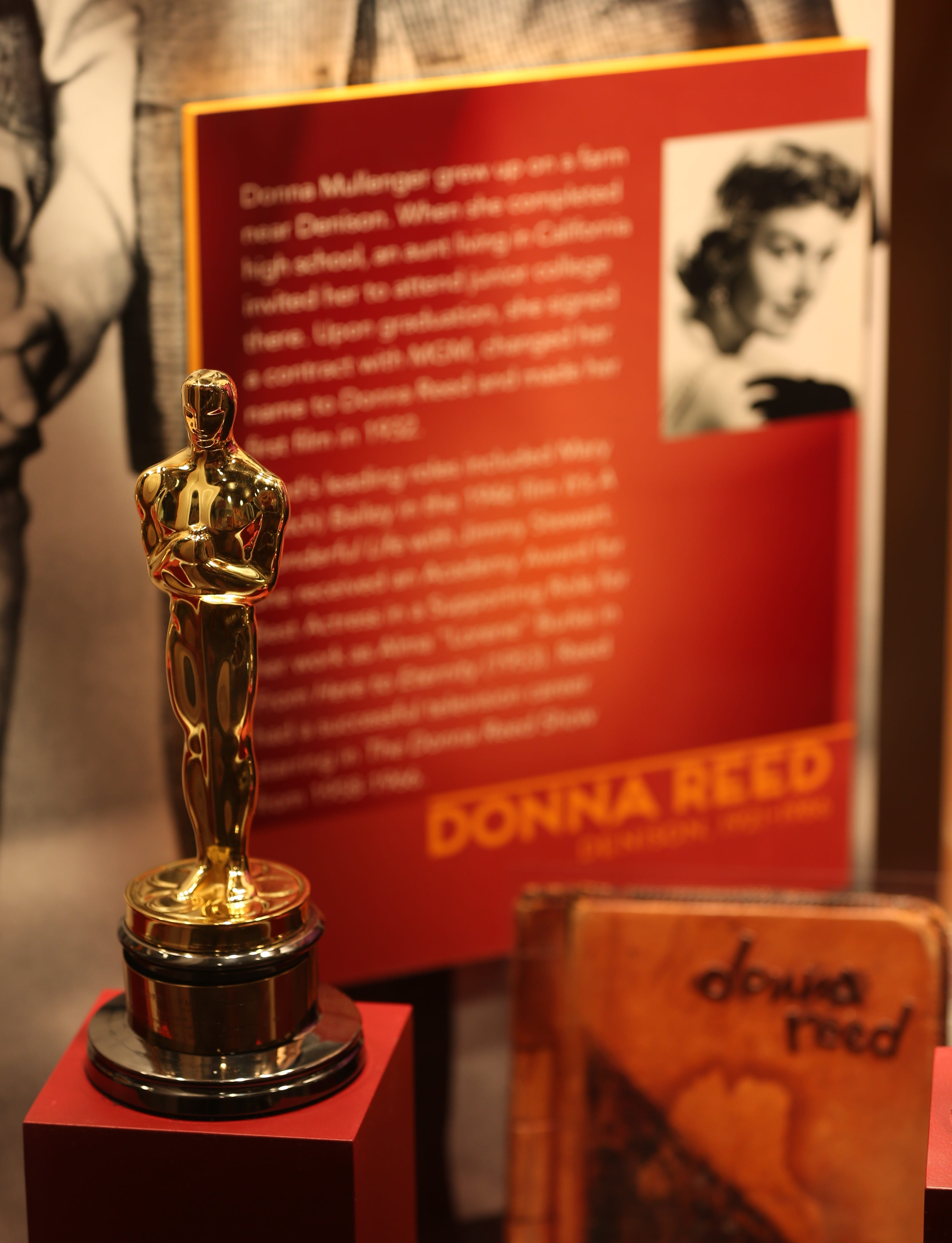 Academy Award won by Iowans Donna Reed seen at the Hollywood in the Heartland exhibit at the State Historical Museum on Thursday, June 26, 2014, in Des Moines, Iowa.