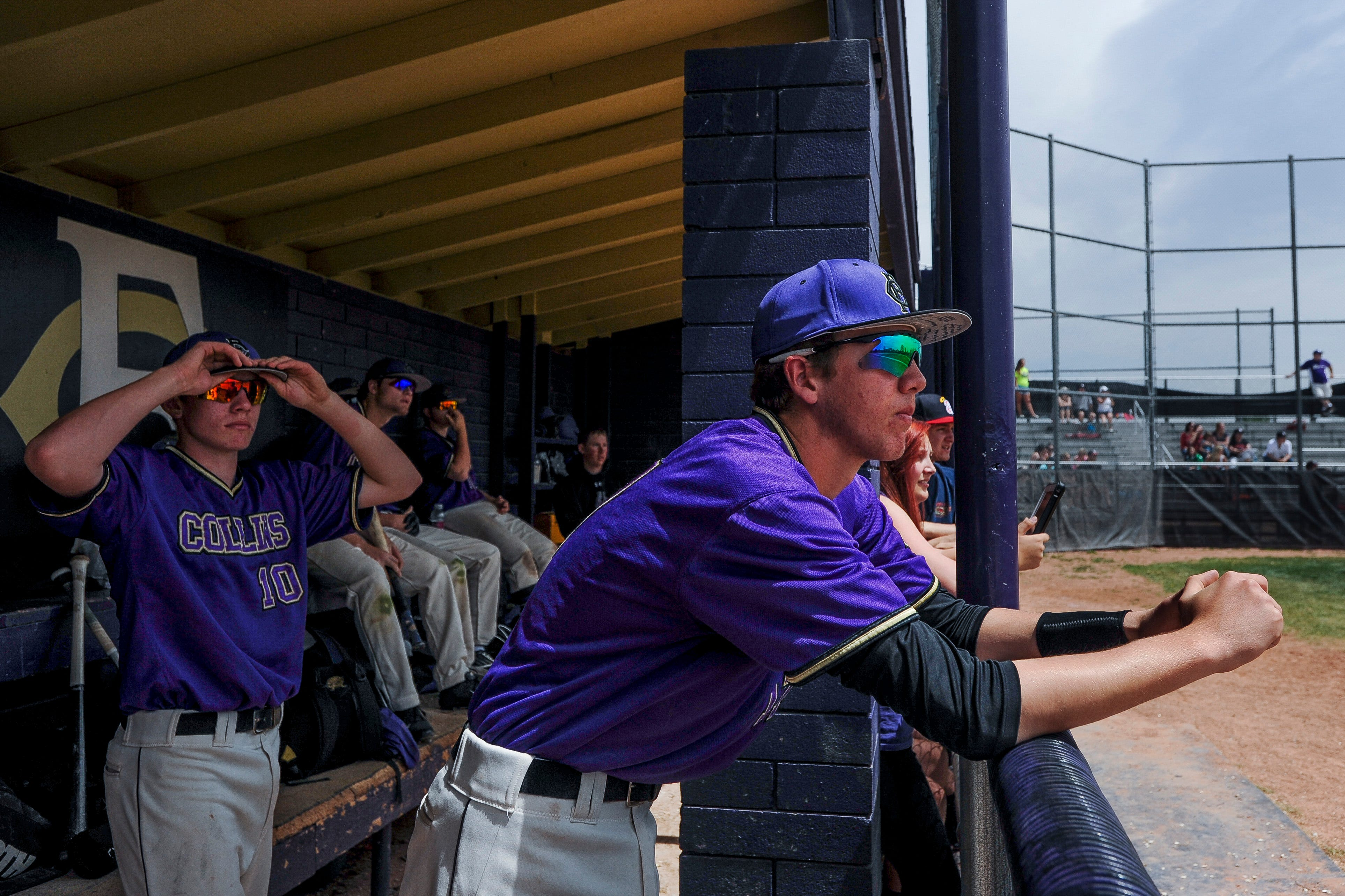 Fort Collins players watch the game from the dugout. Despite leading by as much as six, Fort Collins lost 8-7 to Durango on Saturday in Fort Collins.