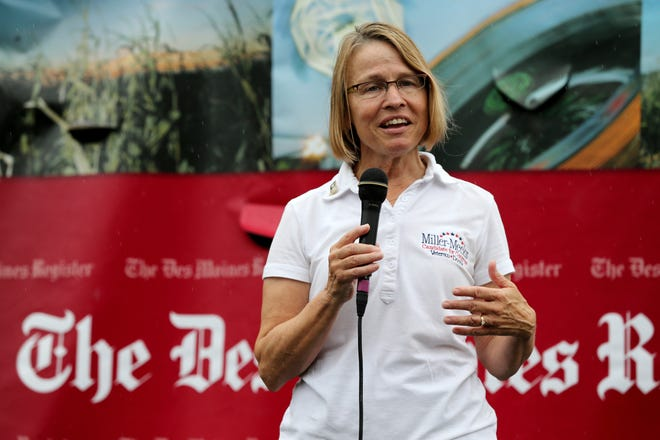 Congressional candidate Mariannette Miller-Meeks speaks at the Des Moines Register Soapbox on Thursday at the Iowa State Fair.