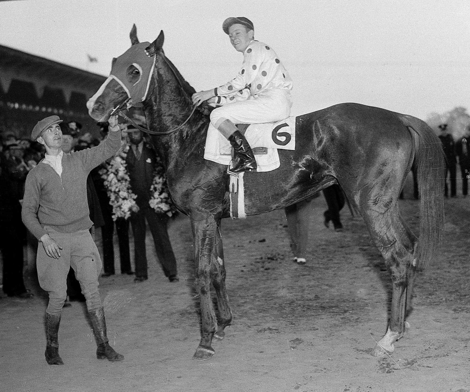 Omaha, with jockey Willie Saunders up, is shown after winning the Preakness Stakes at Pimlico Race Course in Baltimore, in this May 11, 1935 photo. Omaha won horse racing's triple crown in 1935.