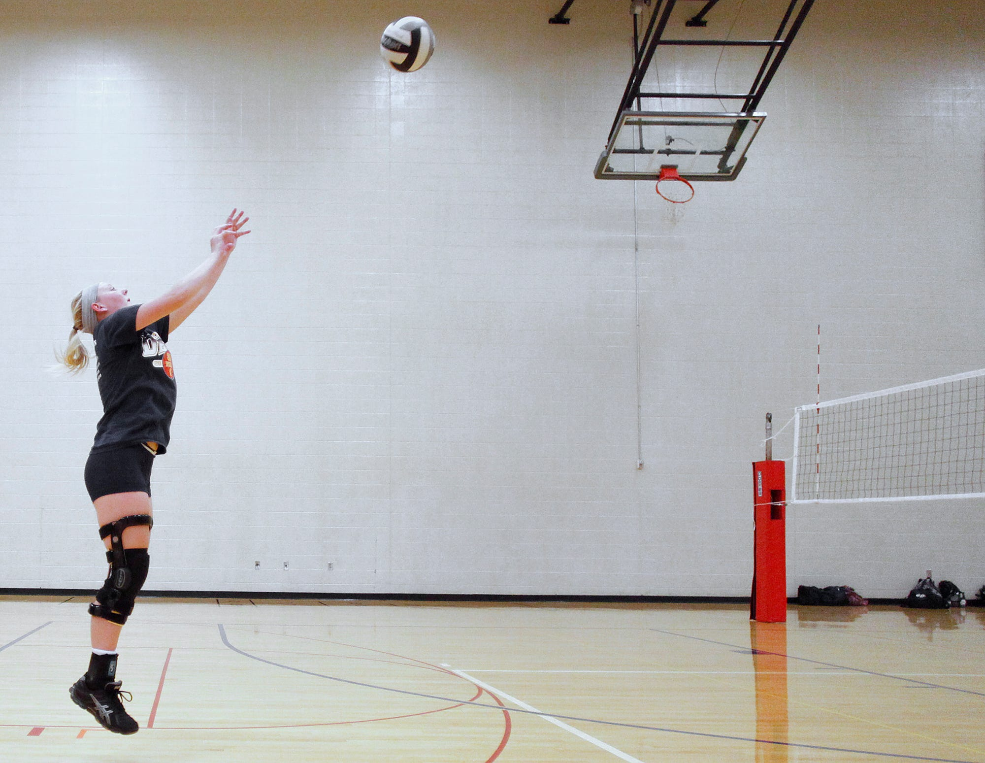 Delta volleyball player Teaghan Dishman during practice Wednesday.