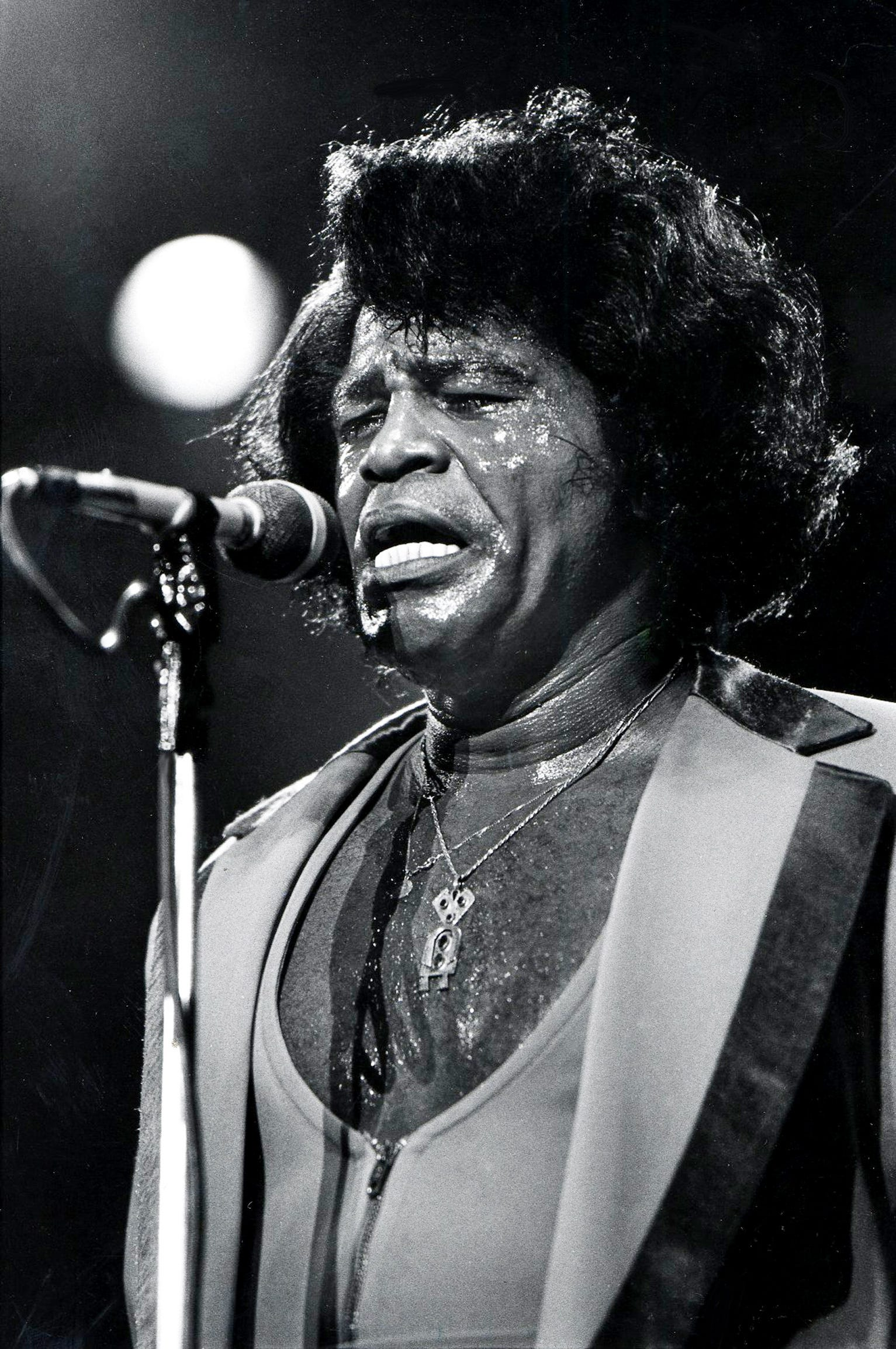 The intensely energetic performance of James Brown has his sweating up a storm at the ninth annual Volunteer Jam nine-hour marathon concert at the Municipal Auditorium Jan. 22, 1983. Brown and his band had the longest time on stage of any of the Jam guests.