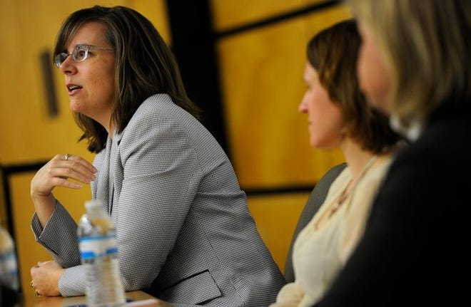 Davidson County Public Defender Dawn Deaner, now former, appears on a panel during a discussion about the death penalty on Monday at at Vanderbilt University.