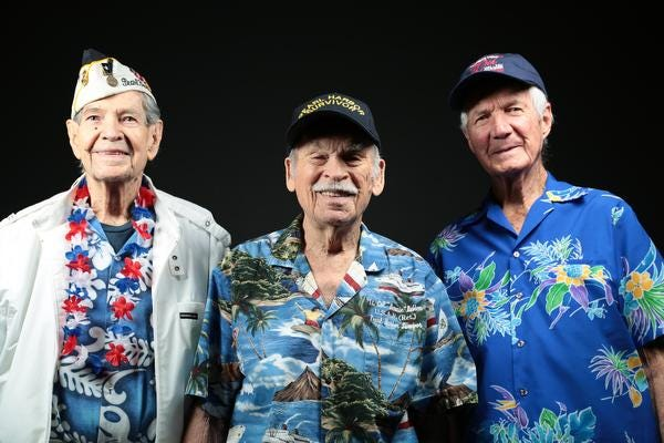Pearl Harbor survivors Leo Priest, 93, of Palm Springs, Bernie Rubian, 96, of Rancho Mirage, and James Donis, 95, of Palm Desert. Photographed on Tuesday, November 18, 2014.