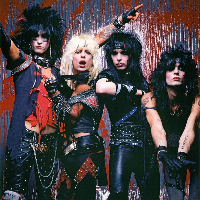 Motley Crue, circa 1983. From left: Nikki Sixx, Vince Neil, Mick Mars and Tommy Lee.  C