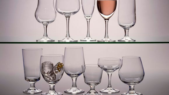 Beverages are served in a variety of stemware.